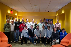 President Engelkemeyer with the Men's Soccer Team in Jazzman's Cafe